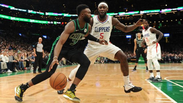 Boston Celtics guard Jaylen Brown and Los Angeles Clippers forward Montrezl Harrell