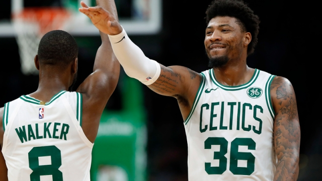 Boston Celtics' Kemba Walker And Marcus Smart