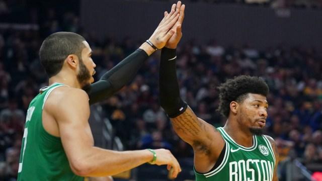 Boston Celtics' Marcus Smart And Jayson Tatum