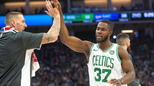 Boston Celtics forward Semi Ojeleye and center Daniel Theis