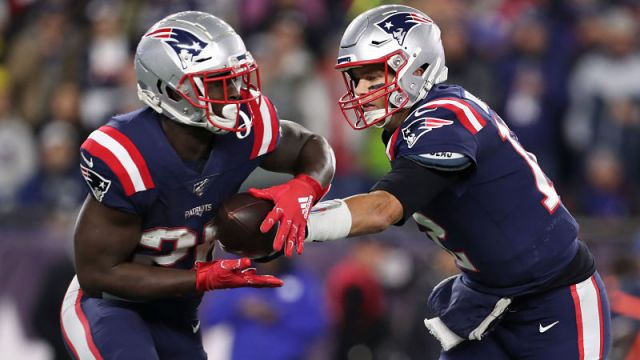 New England Patriots running back Sony Michel and quarterback Tom Brady