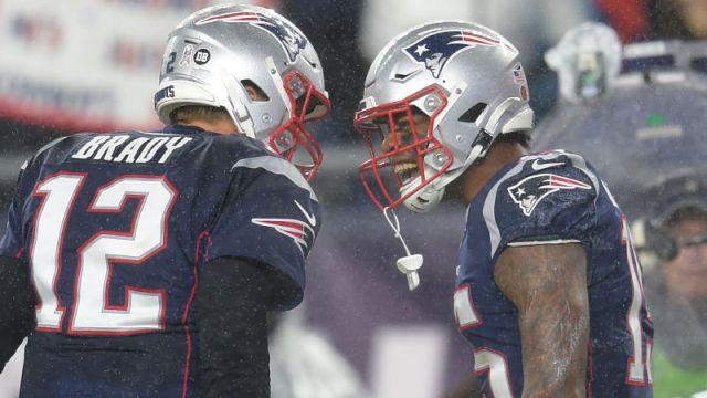 New England Patriots quarterback Tom Brady and wide receiver N'Keal Harry