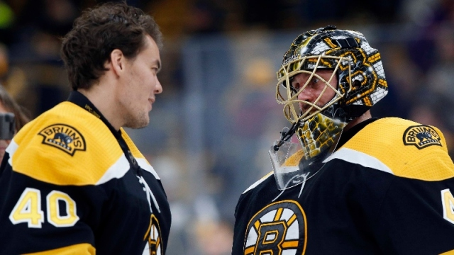 Boston Bruins goaltenders Tuukka Rask (40) and Jaroslav Halak (41)