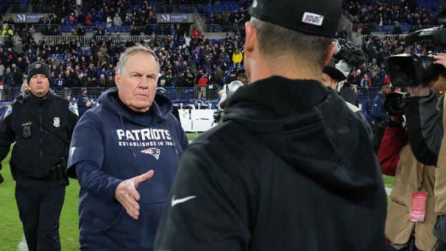 New England Patriots head coach Bill Belichick and Baltimore Ravens head coach John Harbaugh