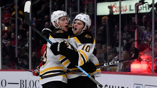 Bruins forwards Charlie Coyle, Anders Bjork