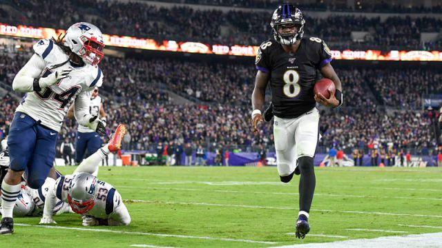 New England Patriots linebacker Dont'a Hightower and Baltimore Ravens quarterback Lamar Jackson
