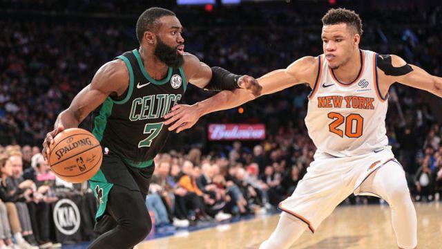 Boston Celtics guard Jaylen Brown and New York Knicks forward Kevin Knox II