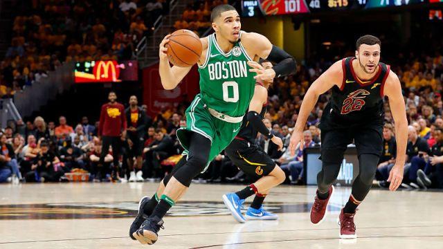 Boston Celtics forward Jayson Tatum and Cleveland Cavaliers forward Larry Nance Jr.