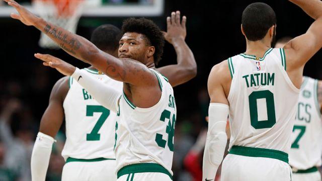 Boston Celtics players Marcus Smart and Jayson Tatum