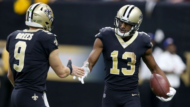 New Orleans Saints wide receiver Michael Thomas and quarterback Drew Brees