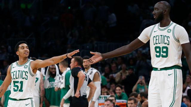 Boston Celtics center Tacko Fall and guard Tremont Waters