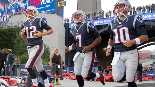Patriots quarterbacks Tom Brady, Jacoby Brissett, Jimmy Garoppolo