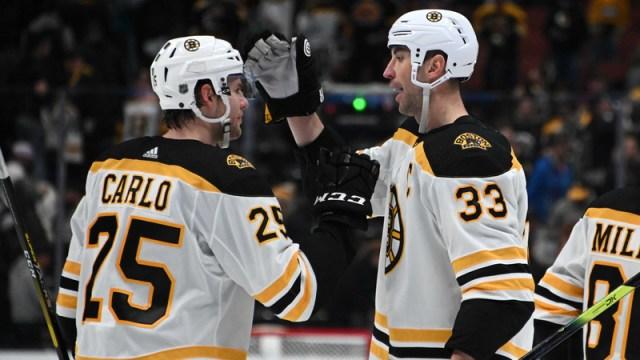 Boston Bruins Defensemen Brandon Carlo And Zdeno Chara