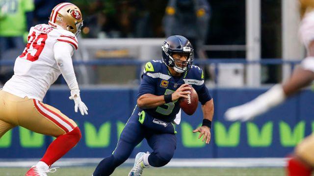 San Francisco 49ers defensive lineman DeForest Buckner and Seattle Seahawks quarterback Russell Wilson