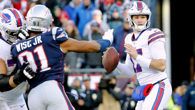New England Patriots defensive lineman Deatrich Wise and Buffalo Bills quarterback Josh Allen