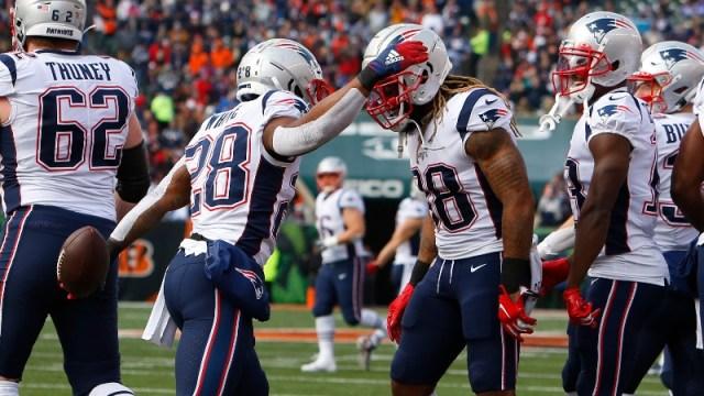 New England Patriots running backs James White (28) and Brandon Bolden (38)