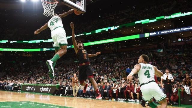 Boston Celtics guard Javonte Green (43), Cleveland Cavaliers guard Collin Sexton (2) and Boston Celtics guard Carsen Edwards (4)