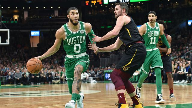Boston Celtics forward Jayson Tatum and Cleveland Cavaliers forward Kevin Love