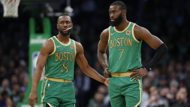 Boston Celtics' Kemba Walker And Jaylen Brown