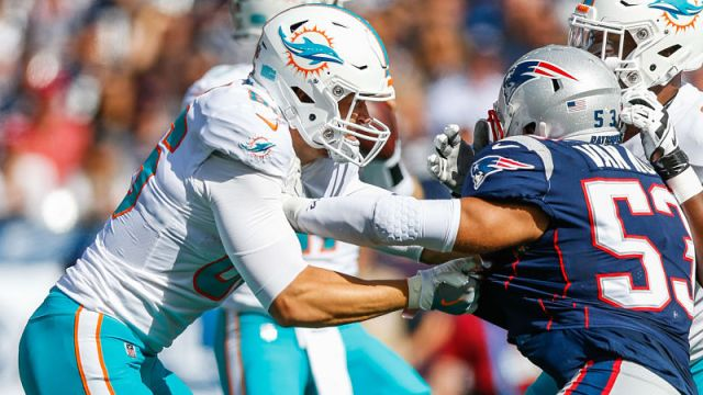 Miami Dolphins tight end Mike Gesicki and New England Patriots linebacker Kyle Van Noy