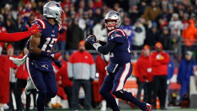 New England Patriots wide receiver N'Keal Harry and quarterback Tom Brady