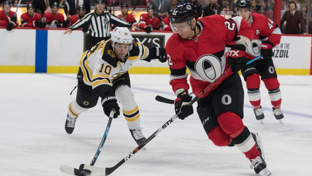 Ottawa Senators defenseman Nikita Zaitsev and Boston Bruins left wing Anders Bjork