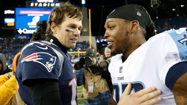 New England Patriots quarterback Tom Brady and Tennessee Titans running back Derrick Henry