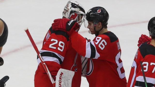 New Jersey Devils Jack Hughes, Mackenzie Blackwood