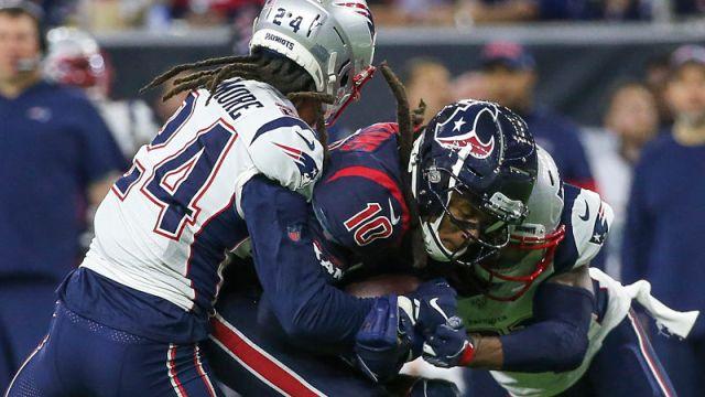 New England Patriots cornerback Stephon Gilmore and Houston Texans receiver DeAndre Hopkins