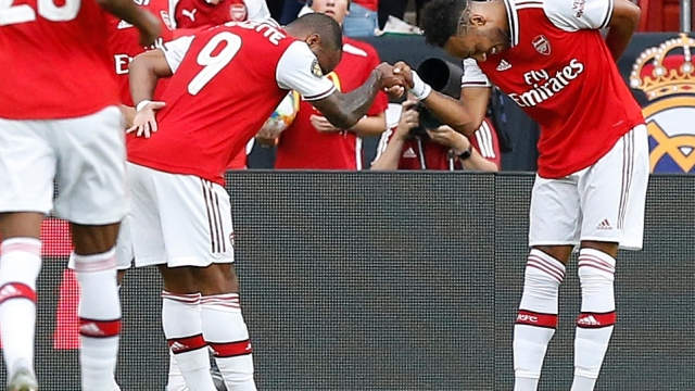 Arsenal forwards Alexandre Lacazette and Pierre-Emerick Aubameyang (right)