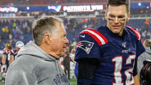 Patriots head coach Bill Belichick, quarterback Tom Brady