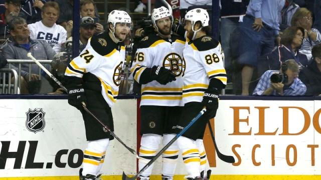 Boston Bruins' Jake DeBrusk, David Krejci And David Pastrnak