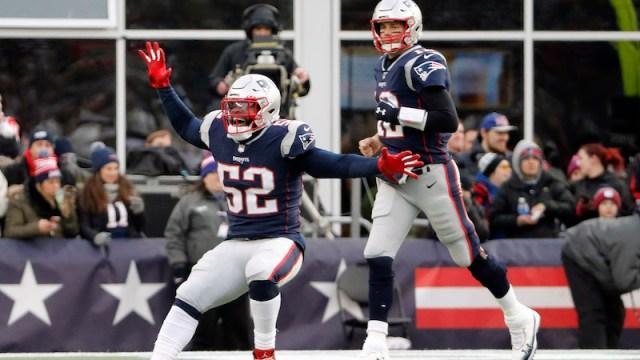 Patriots linebacker Elandon Roberts, quarterback Tom Brady