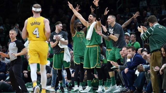 The Boston Celtics bench