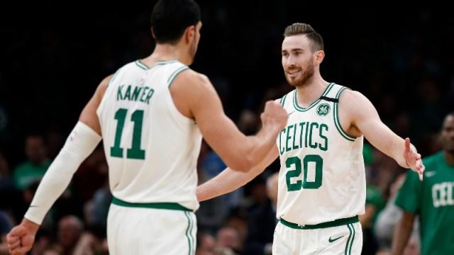 Boston Celtics center Enes Kanter and forward Gordon Hayward (right)