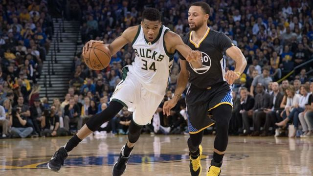 Milwaukee Bucks forward Giannis Antetokounmpo and Golden State Warriors guard Stephen Curry