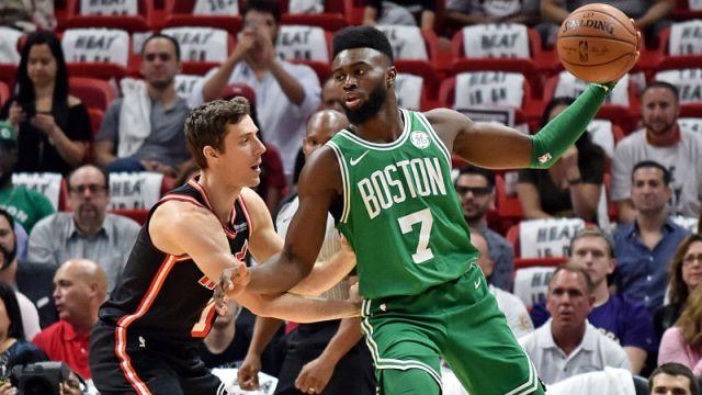 Miami Heat guard Goran Dragic and Boston Celtics guard Jaylen Brown