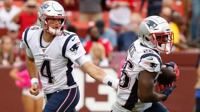 New England Patriots quarterback Jarrett Stidham and running back Sony Michel