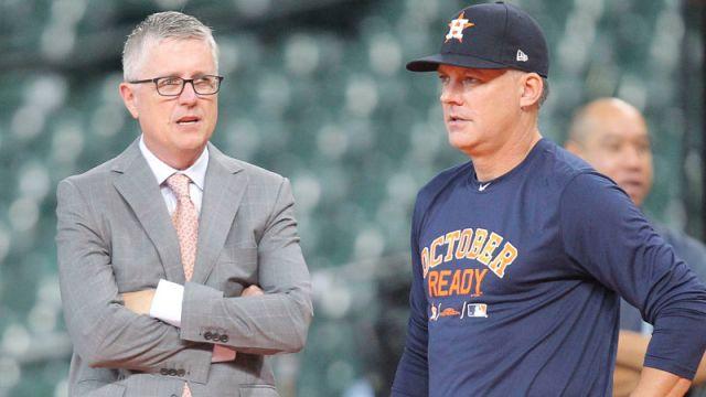 Former Houston Astros GM Jeff Luhnow and head coach AJ Hinch