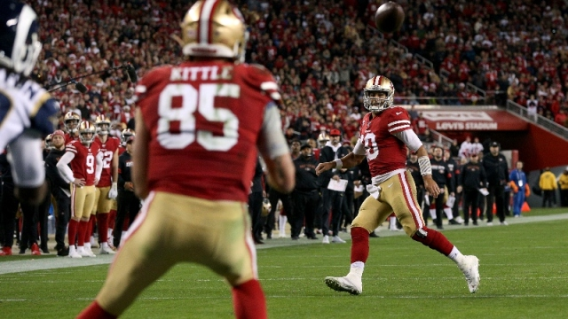 San Francisco 49ers quarterback Jimmy Garoppolo (10) and tight end George Kittle (85)