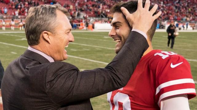 49ers general manager John Lynch, quarterback Jimmy Garoppolo