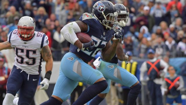New England Patriots defensive end John Simon and Tennessee Titans running back Derrick Henry