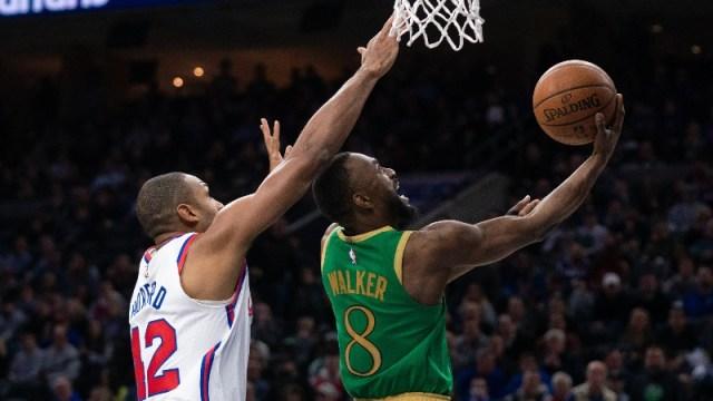 Boston Celtics guard Kemba Walker (8) and Philadelphia 76ers center Al Horford (42)