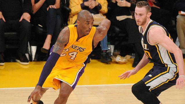 Former Los Angeles Lakers guard Kobe Bryant and Boston Celtics forward Gordon Hayward