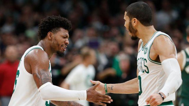 Boston Celtics guard Marcus Smart and forward Jayson Tatum