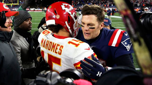Kansas City Chiefs quarterback Patrick Mahomes and Tampa Bay Buccaneers quarterback Tom Brady