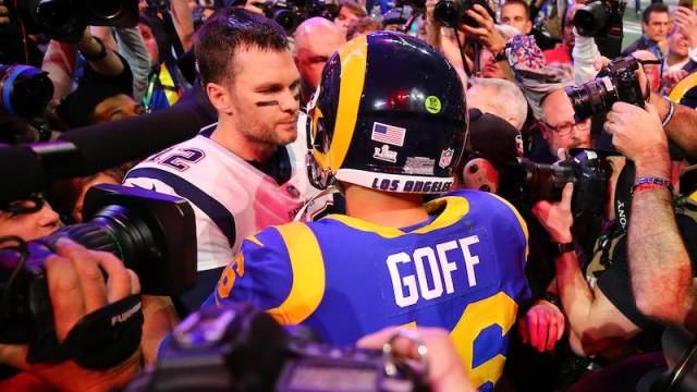 Patriots quarterback Tom Brady, Rams quarterback Jared Goff