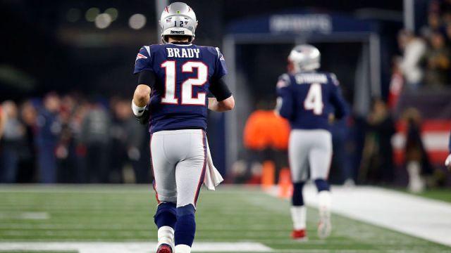New England Patriots quarterbacks Tom Brady and Jarrett Stidham
