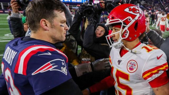 New England Patriots quarterback Tom Brady and Kansas City Chiefs quarterback Patrick Mahomes