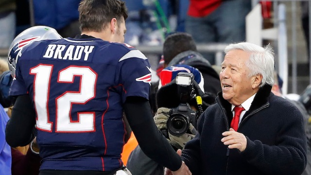 Former Patriots quarterback Tom Brady, owner Robert Kraft